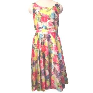 Watercolor Floral Pattern Sleeveless Dress Size 6